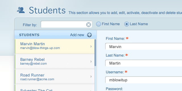 New students section in admin